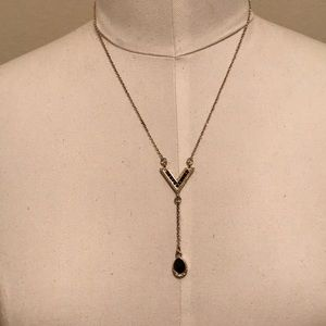 Gold and black simple necklace